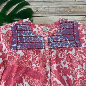 J.crew pink floral embroidered peasant top